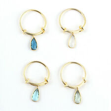 Hydro Quartz White Chalcedony Gold Plated Adjustable Rings Lot 4 Pcs For Her