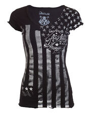 ARCHAIC by AFFLICTION Womens T-Shirt NATION Motorcycle Biker USA FLAG Sinful $40