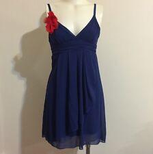 Star Secrets Cobalt Blue Sleeveless Chiffon Dress Red Flower Italy Wrap Navy Top