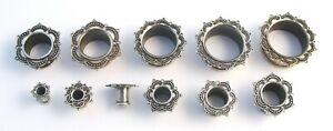 Ornate Brass Lotus Flesh Tunnel Ear Lobe Flare Plug Body Jewellery Ear 4mm-22mm