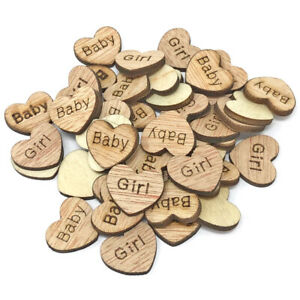 Baby Girl Wooden Shabby Chic Craft Scrapbook Vintage Confetti Hearts 15mm