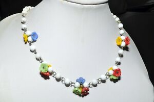 PRETTY VINTAGE ART DECO NECKLACE OF CLUSTERS OF GLASS FLOWERS SIGNED CZECH