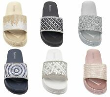 Womens Sliders Casual Slippers Mules Ladies Diamante Flip Flop Sandals Shoes
