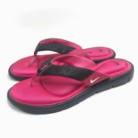 Nike Women's Flip Flops Comfort Footbed Gel Cushion Hot Pink Black Sz 11