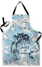Splashproof Novelty Apron Alice In Wonderland Cheshire Cat Rose Blue Cooking