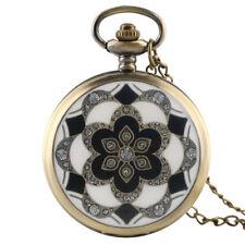 Retro Rhinestones Flower Women Quartz Pocket Watch Necklace Pendant Chain Gifts
