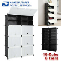 16-Cube DIY Modular Closet Wardrobe Clothes Shoes Shelves Storage Organizer Rack