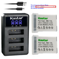 Kastar Battery Triple USB Charger for Canon NB-13L CB-2LH & PowerShot SX740 HS