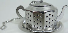 Loose Tea Strainer Infuser Ball Teapot Shape Chain With Tray Stainless Vtg 70s