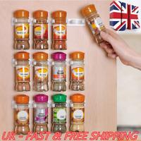 20 Clip Kitchen Spice Gripper Strip Jar Rack Storage Holder Wall Cabinet Door UK