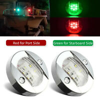 2X Round Marine Boat LED Red Green Navigation Deck Courtesy Lights Stern Transom