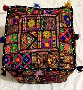 Vintage Handmade Indian Pouf Moroccan Seat Patchwork Stool Pillow Cover Ottoman