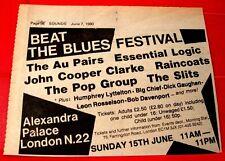 """The Slits/John Cooper Clarke Gig Vintage ORIG 1980 Press/Mag ADVERT 5.5""""x 4.5"""""""