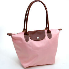 Women Light Polyester Fashion Tote Bag with Faux Leather Classic Handbag Pink