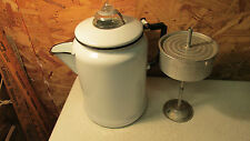 White Enamelware Coffee Perculator