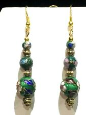 New Item*On Sale* - Handcrafted Vtg. Green Cloisonne'3-Bead Drop Earrings*New
