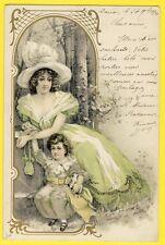 cpa ART NOUVEAU EDWARDIAN WOMAN GIRL FEMME ENFANT Jouet Toy Chapeau Hat Forêt