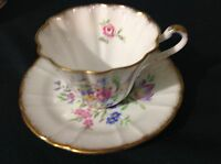 ROYAL STAFFORD BONE CHINA CUP & SAUCER CABBAGE ROSE FLOWERS GOLD TRIM  1416X
