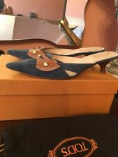TODS Blue Suede & Brown Leather Mule Sandals, Size 9, 5. Made in Italy