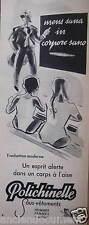 PUBLICITÉ 1956 POLICHINELLE SOUS-VÊTEMENTS ESPRIT ALERTE - ÉCOLE - ADVERTISING