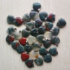 Fashion natural Bloodstone Love Heart charms Pendants 50pcs/lot Wholesale free