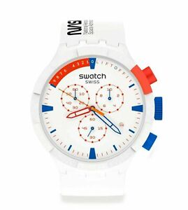 New Swatch NASA EXTRAVEHICULAR White Dial Silicone Band Men's Watch SB04Z400