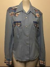 Vtg 1950s Womens Levis Short Horn Blue Plaid Western Shirt Rockabilly Sawtooth