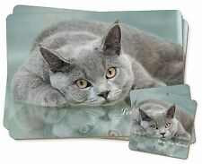 British Blue Cat 'Love You Mum' Twin 2x Placemats+2x Coasters Set in G, MUM-C1PC