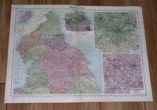 1940 ORIGINAL VINTAGE WWII MAP OF NORTHERN ENGLAND YORK MANCHESTER CUMBERLAND