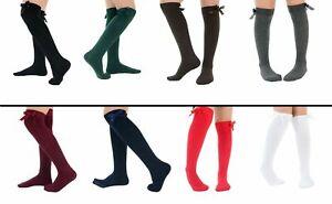 Girls Bow Knee High Socks School Socks With Satin Bow Fashion Cotton Rich 1 Pair