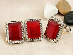 Turkish Ruby Ring Earring Ladies Set 925 Sterling Silver Handmade Antique Set