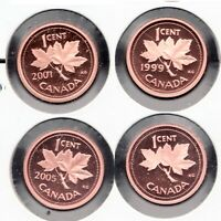 1999 2002 2001 2005 - Canadian Frosted Proof coins - Superfleas - Mint