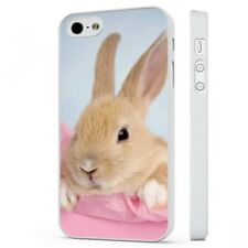 Cute Bunny Rabbit Pink WHITE PHONE CASE COVER fits iPHONE