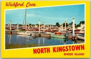 1960s NORTH KINGSTOWN, Rhode Island Postcard Wickford Cove Scene / Yellow Unused