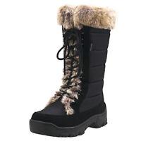 AUSLAND Women's Mid-Calf Drawstring Oxford Winter Snow Walking Boots Fur Lining