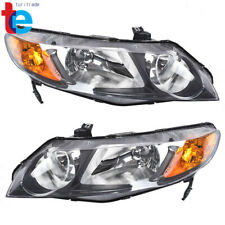 Left+Right Black Headlight Assembly For 06-11 Honda Civic 4DOOR {FACTORY STYLE}
