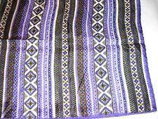 "Vintage Purple Black Gold Ivory Hippie Striped Print Twill Scarf 29"" Square"