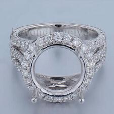 Round Cut 11x11mm Real 14k White Gold Diamond Semi mount Engagement Wedding Ring