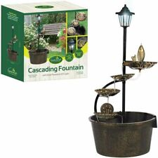 Water Barrel Fountain with Solar Light GardenKraft Lotus Cascading Water Feature