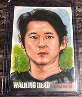 The Walking Dead Season 4 Sketch Card By Portratz & Hai Glenn Rhee RARE 1/1 LOOK