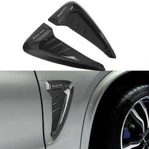 Universal Carbon Fiber Car Side Fender Shark Air Vent Decor Wing Cover Trim