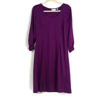 Susan Graver Womens sz L Purple Ponte Knit 3/4 Ruched Sleeve Dress Scoop Neck