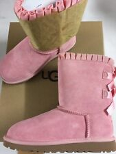 UGG Bailey Bow Ruffles Boots Baby Pink Size UK 3 FITS WOMEN UK 4-4.5