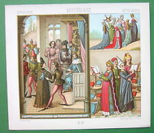 COTUME Court of King Louis XI - Ladies SIngers - COLOR Litho Print by A. Racinet