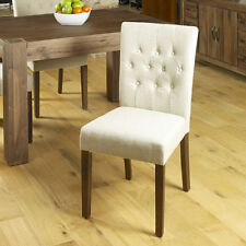 Baumhaus Shiro Walnut Flare Back Upholstered Dining Chair in Biscuit- Set of Two