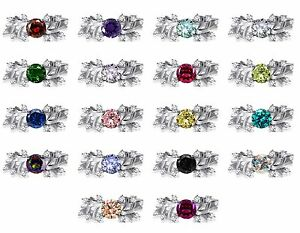 White Gold Finish Round Birthstone Nature Leaf Petal CZ Silver Ring
