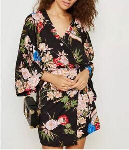 Women's Girl Floral Print Wrap Front Kimono Sleeve Day Evening Party Mini Dress