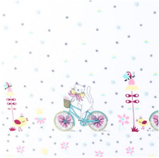 """Cats on white cotton border fabric, """"60"""" wide, kids clothing, sold by metre"""