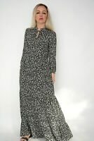 New Ex Nobodys Child Black+White Ditsy Floral Print Tiered Maxi Dress Size 8-12