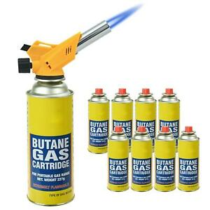 Butane Gas Canisters + Lighter Blow Torch Flame Kitchen Chefs Refillable BBQ